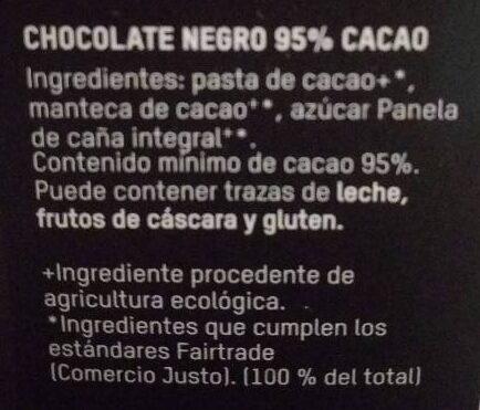 Chocolate Negro BIO - Ingredientes - es