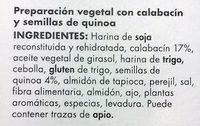 Hamburguesa con quinoa y calabacín - Ingredientes