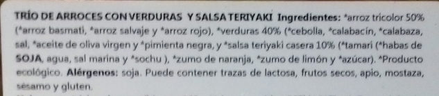 Trío de arroces con verduras teriyaki - Ingredients - es
