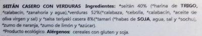 Seitan casero con verduras - Ingrediënten