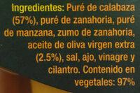 Crema de calabaza - Ingrédients - es