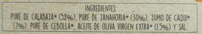 Crema Natural de calabaza, zanahoria y caqui - Ingrédients - es