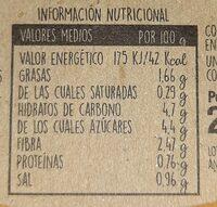 Crema Natural de calabaza, zanahoria y caqui - Informations nutritionnelles - es
