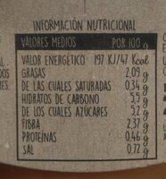 Crema natural de zanahoria, melocotón y manzana - Información nutricional