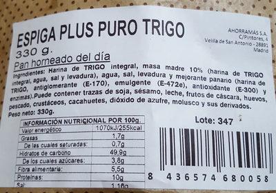 Espiga plus puro trigo - Ingredients