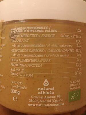 Crema de anacardos - Información nutricional - es