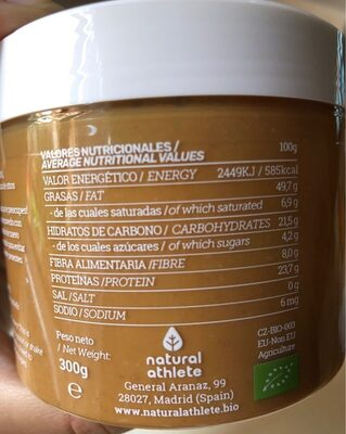Natural Crema de Cacahuete - Información nutricional