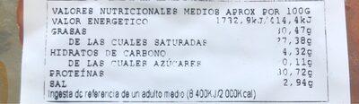 Chorizo iberico extra - Nutrition facts