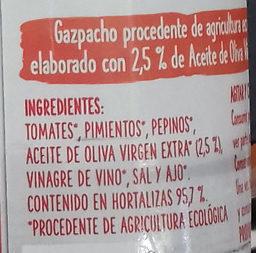 Gazpacho ecológico - Ingredientes