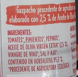 Gazpacho ecológico - Ingredientes - es