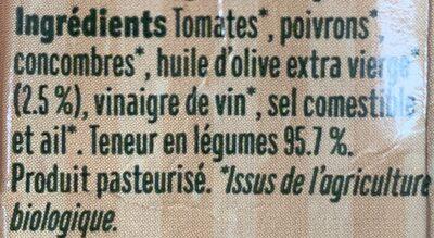 Nuestro gazpacho organico - Ingrédients