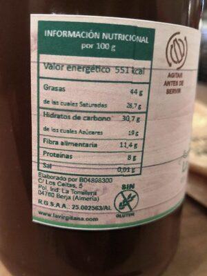 Crema de cacao con avellanas - Valori nutrizionali - es
