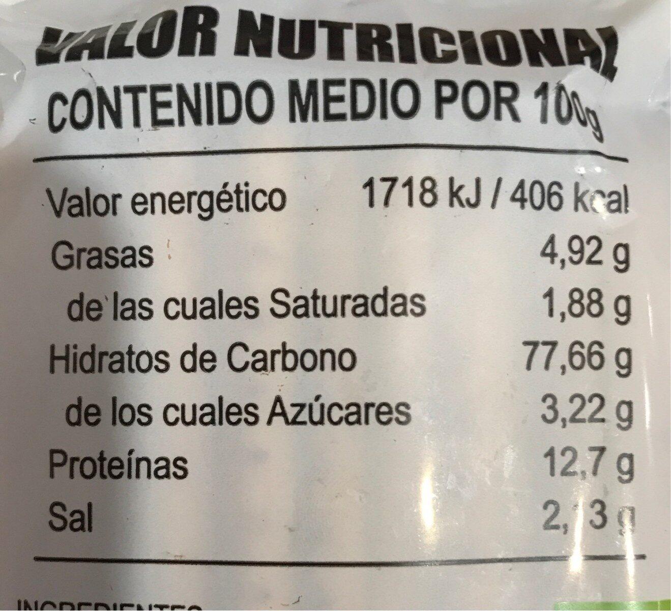 Palitos de Espelta - Nutrition facts