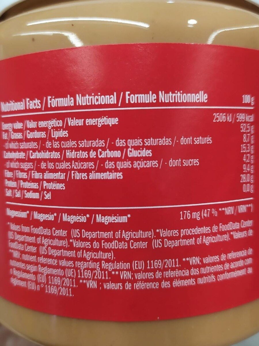 Crema de cacahuete - Información nutricional