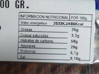 Langues espagnoles - Nutrition facts - fr
