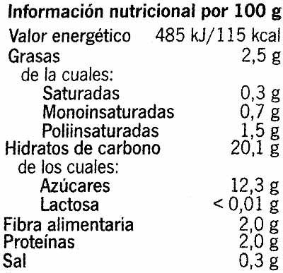 Natillas de soja Vainilla - Informations nutritionnelles