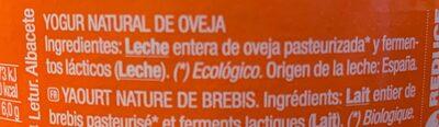 Yogur de oveja ecológico - Ingredientes