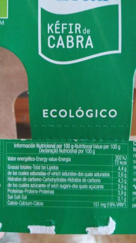 Kefir cabra cantero de letur eco - Voedigswaarden