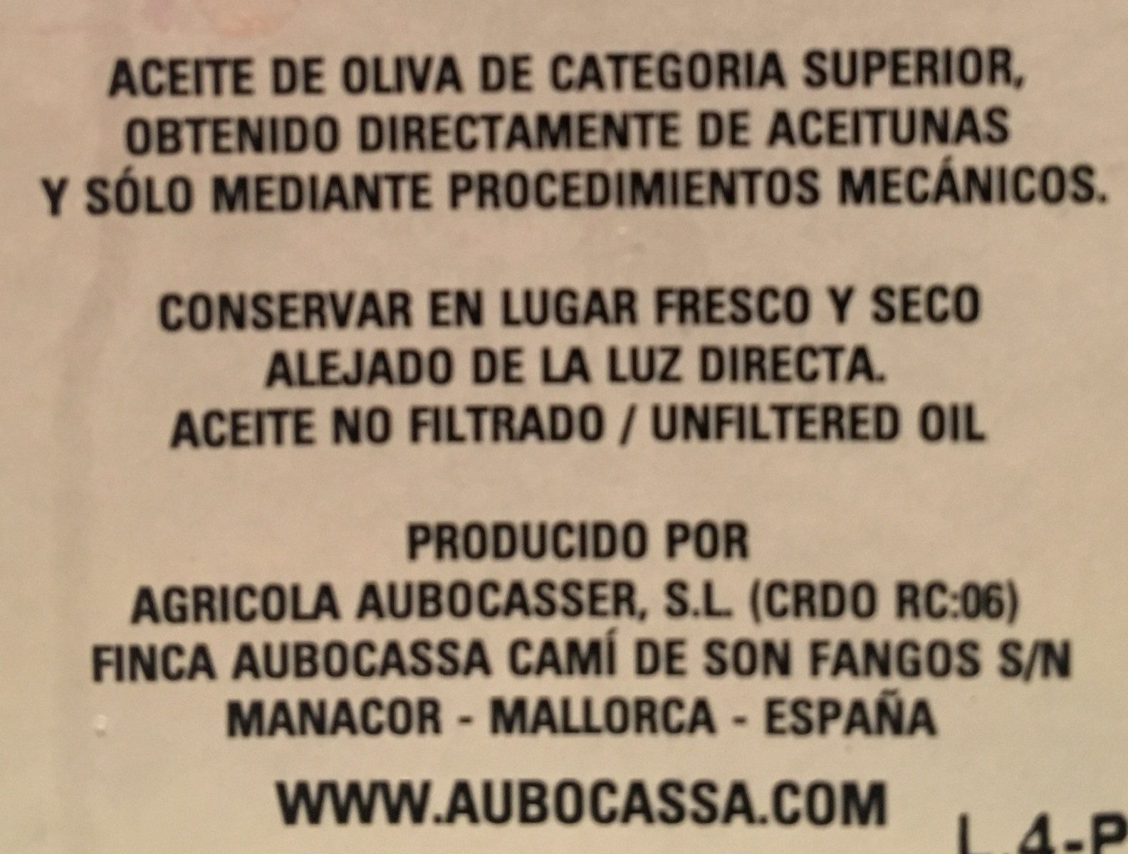 Aubocassa (500ml) - Ingrediënten
