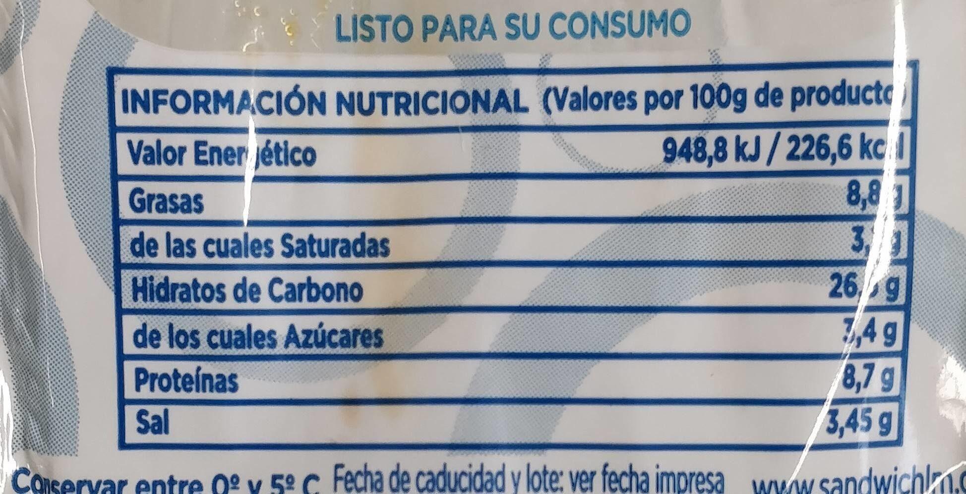 Sandwich nórdico - Información nutricional