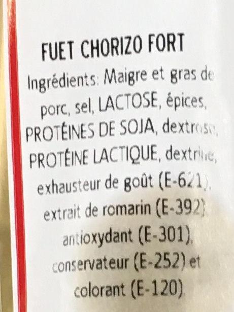 Fuet Chorizo fort - Ingrédients - fr