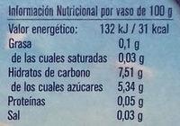 Postre vegetal con horchata de cufa - Informació nutricional