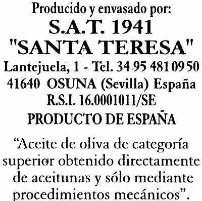 """Aceite de oliva virgen extra """"1881"""" - Información nutricional"""