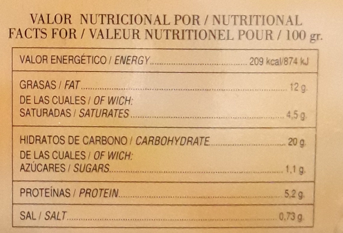 Fabada asturiana - Voedingswaarden