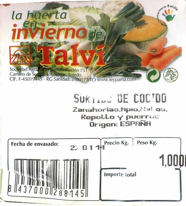 Mezcla de verduras y hortalizas para cocido - Ingredientes - es