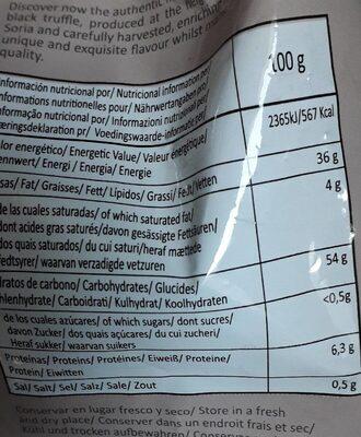 Chips bio con trufa negra melanosporum - Informations nutritionnelles - fr