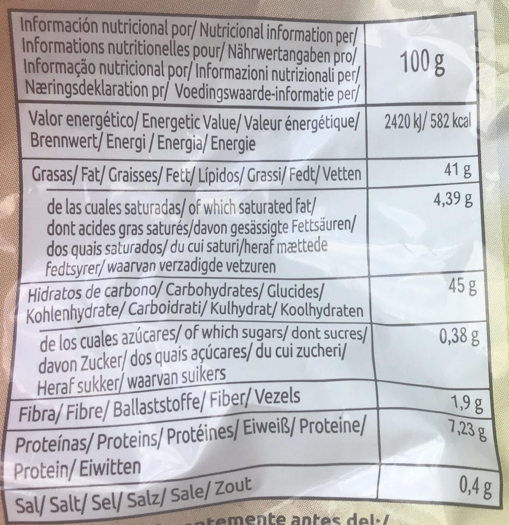 Chips bio paprika - Información nutricional - es