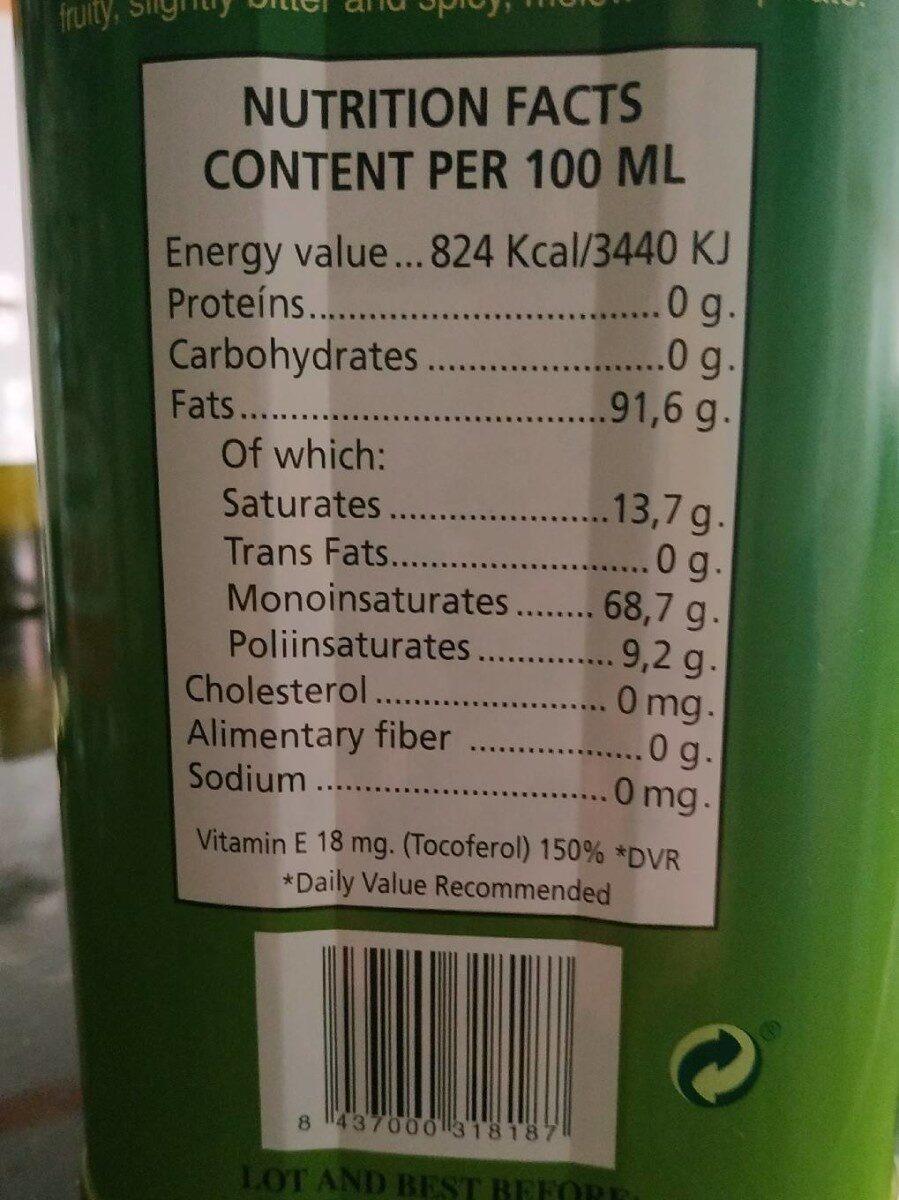 Aceite de oliva virgen extra LOS REMEDIOS - Información nutricional - es