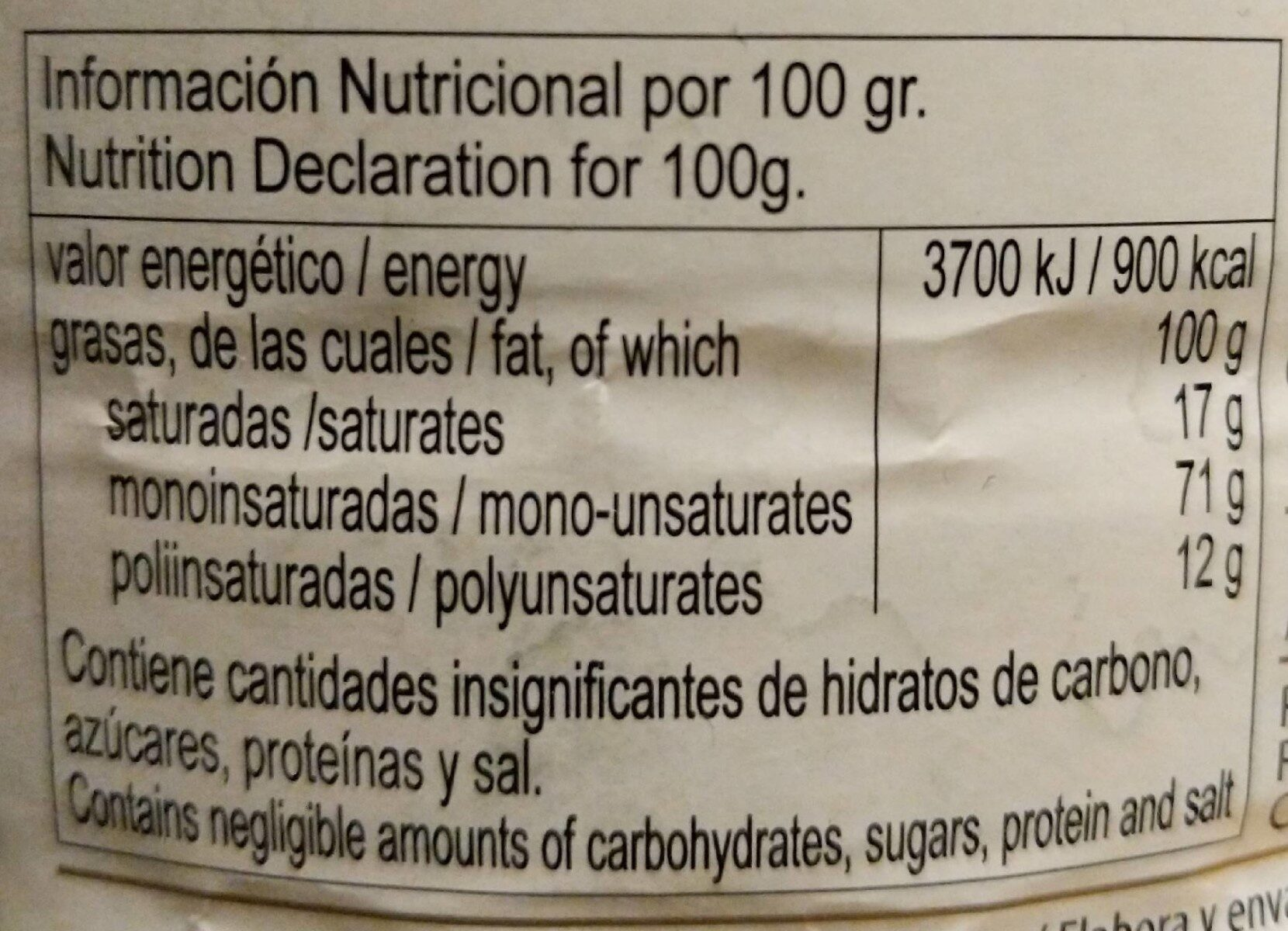 Aceite de oliva virgen extra Arbequina - Informations nutritionnelles - es