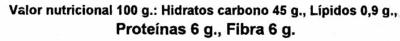 Algarroba - Información nutricional