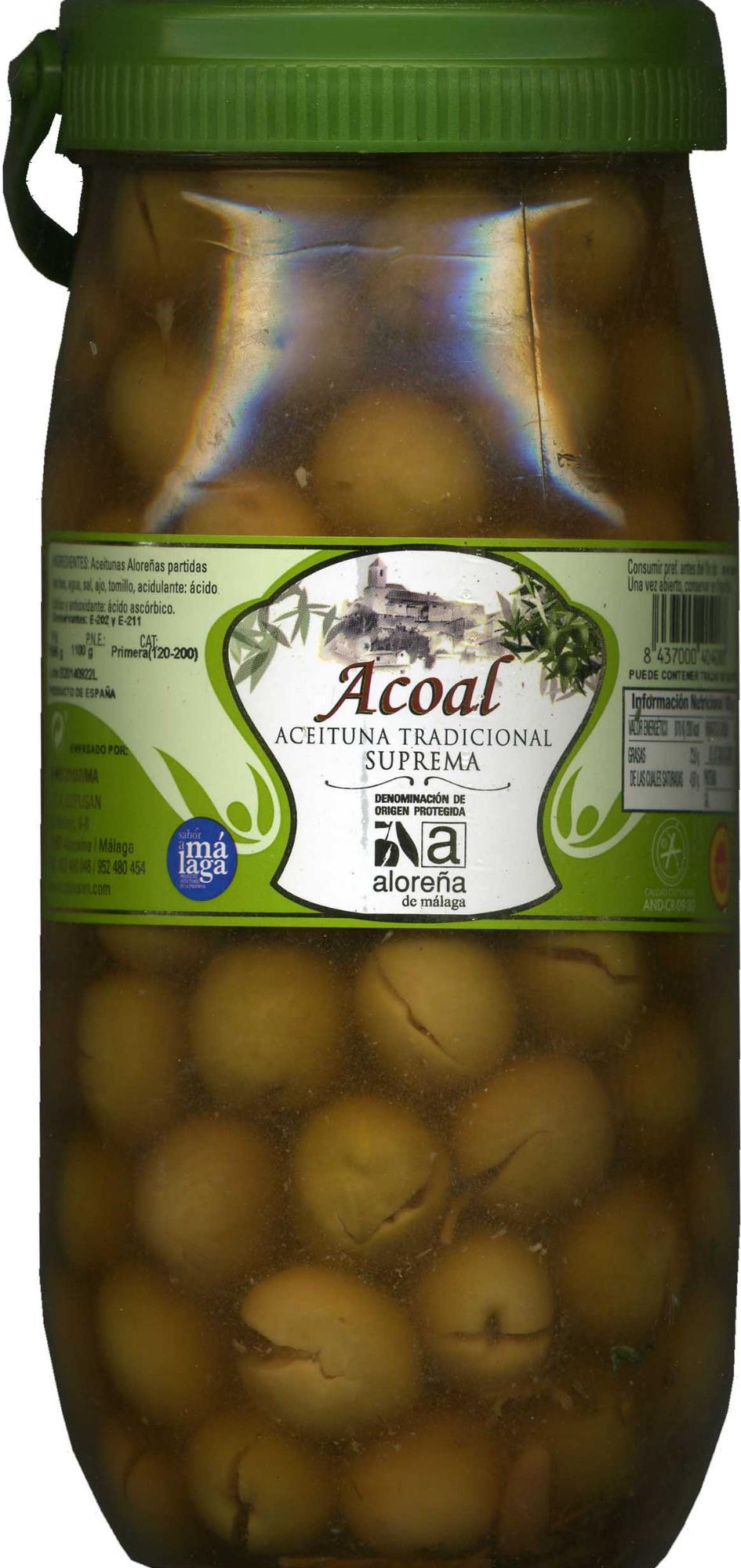 Aceitunas verdes partidas Aloreña de Málaga - Producto - es