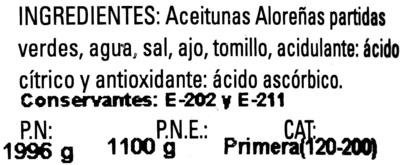 Aceitunas verdes partidas Aloreña de Málaga - Ingredientes