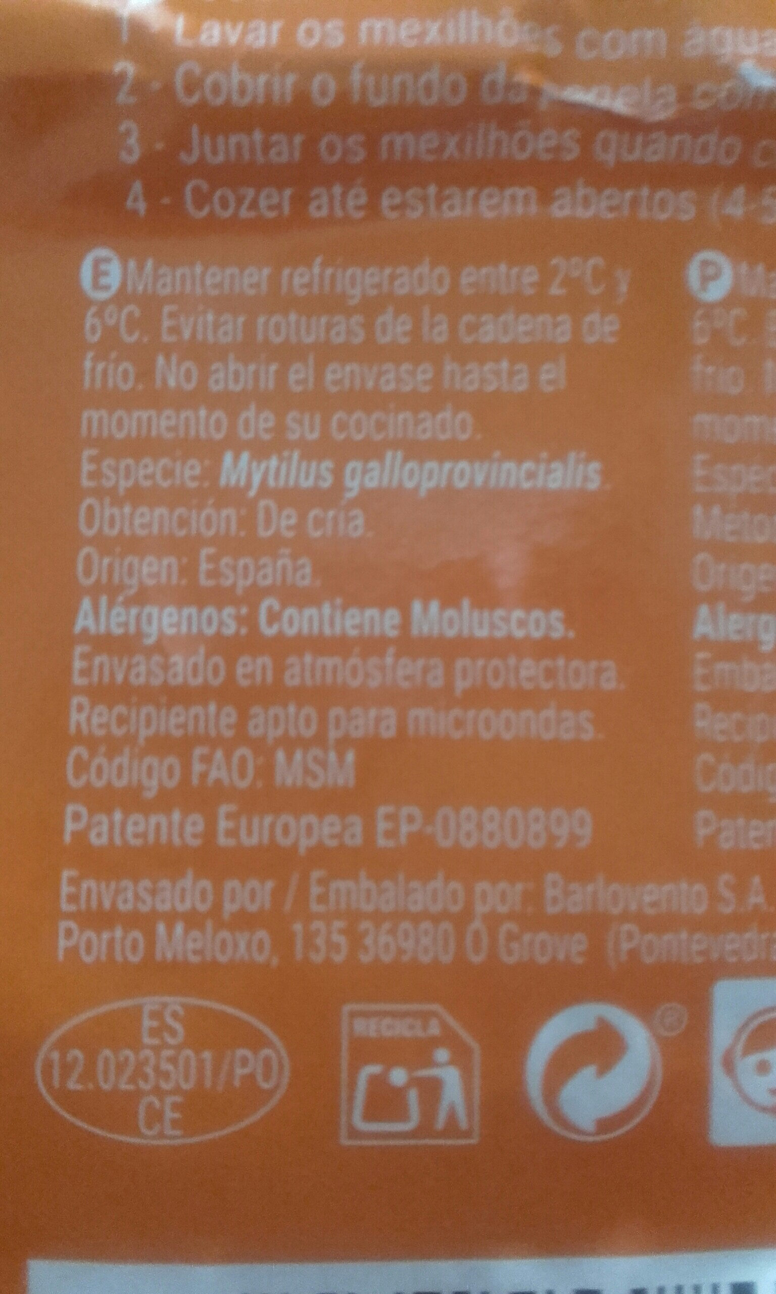 Mejillones - Ingredients