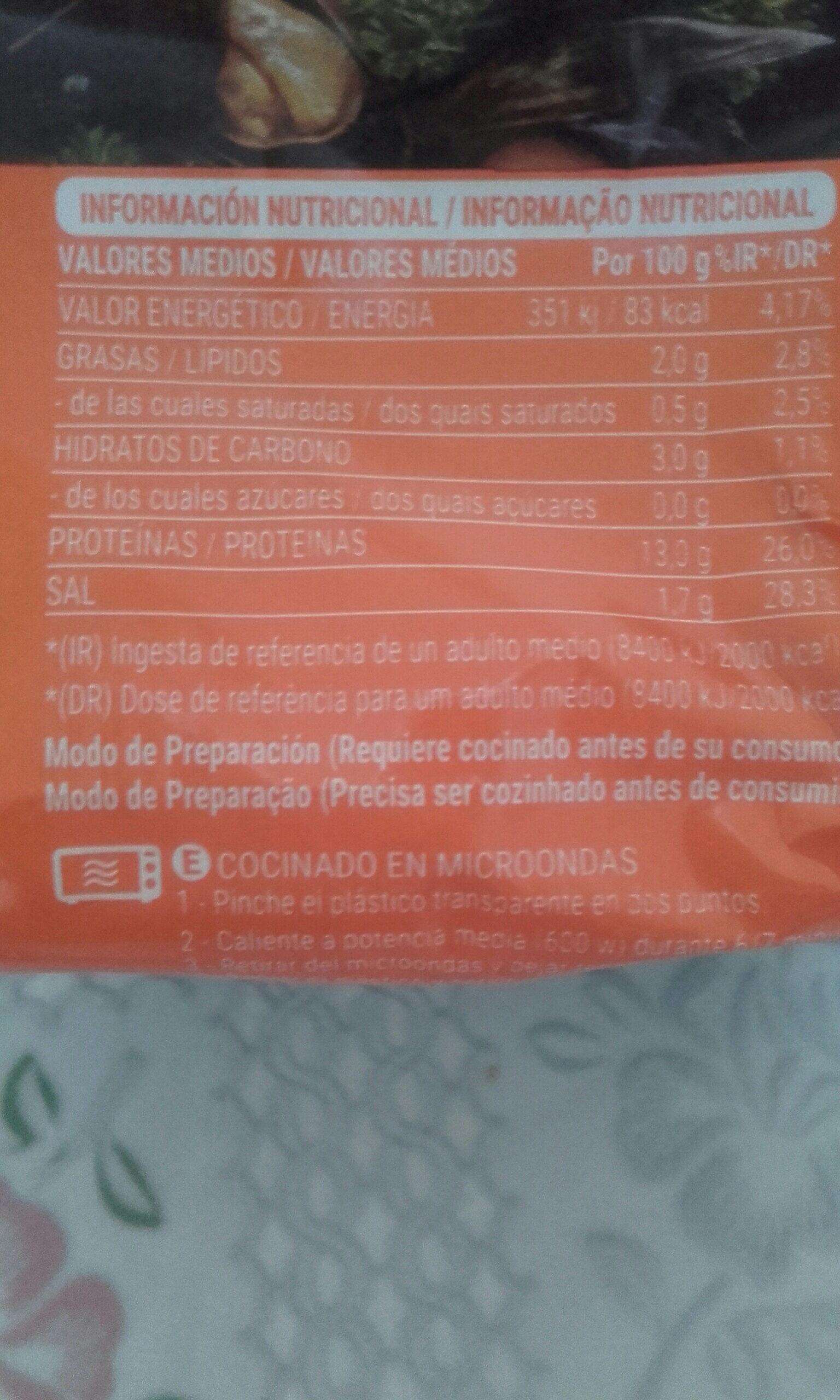 Mejillones - Información nutricional