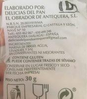 Picos artisanale - Ingrédients - fr