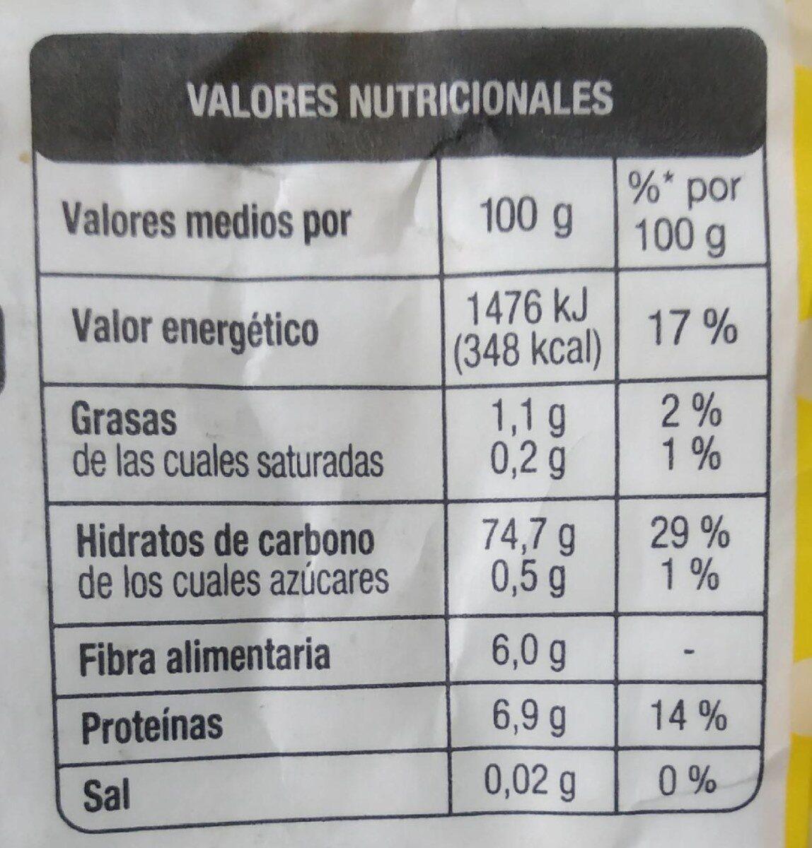 Harina de maíz precocida - Información nutricional - es