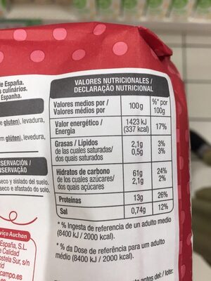 HARINA PREPARADA PARA PIZZA - Nutrition facts