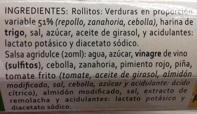 Rollitos de primavera envase 280 g - Ingredients