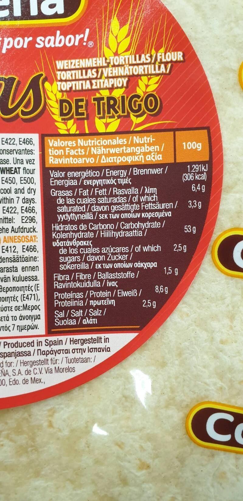 Tortilla de trigo bolsa 320 g - Información nutricional