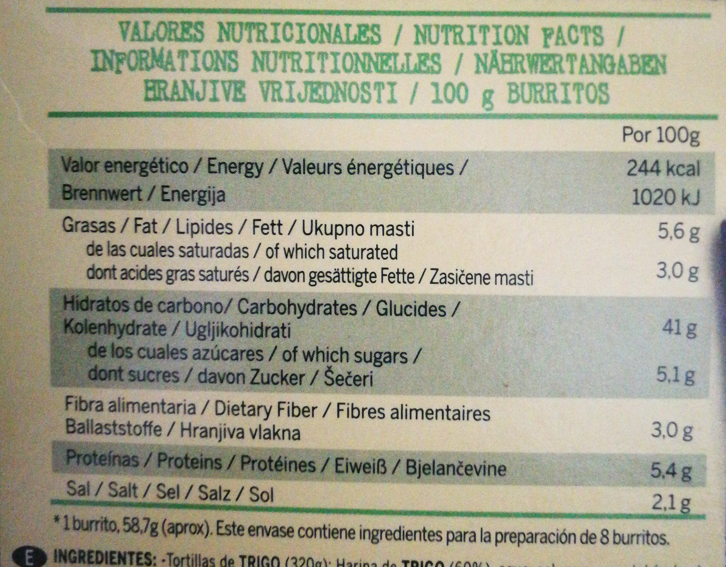 Burritos - Nutrition facts
