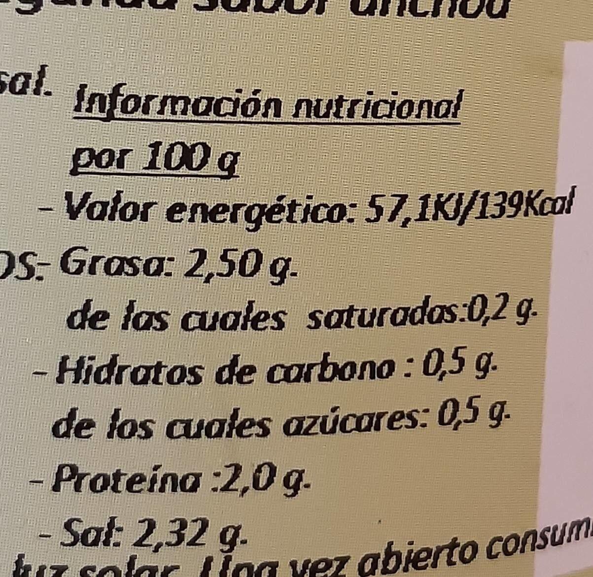 Revuelto - Información nutricional - es