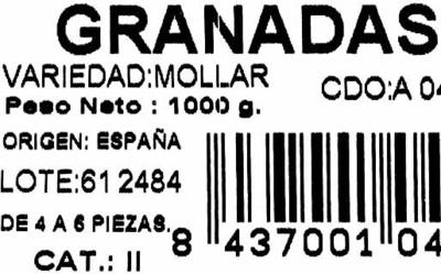 """Granadas """"Oliva"""" - Ingredientes - es"""