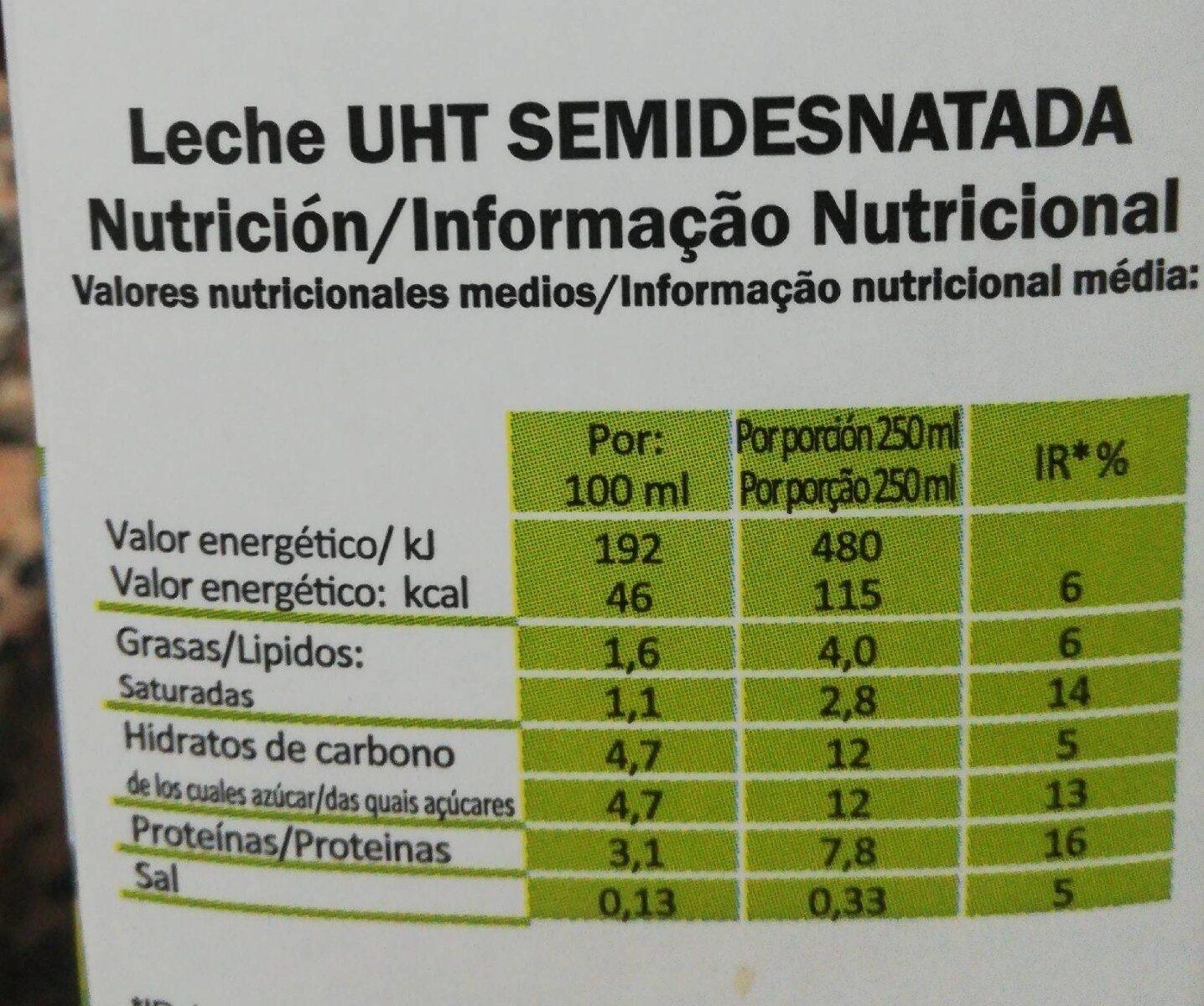 Leche Semidesnatada - Nutrition facts