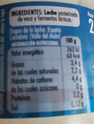 Yoghourt Natural - Nutrition facts