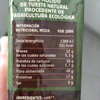 Cafe biologico - Nutrition facts - es