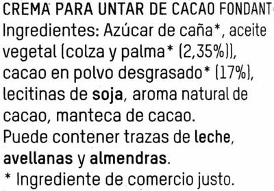 Crema de cacao - Ingrédients - es